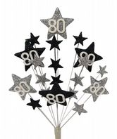 Star age 80th birthday cake topper decoration in silver and black - free postage